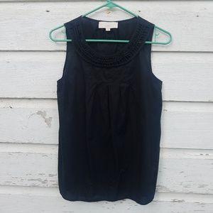 LOFT Black Cotton Braid Neck Blouse
